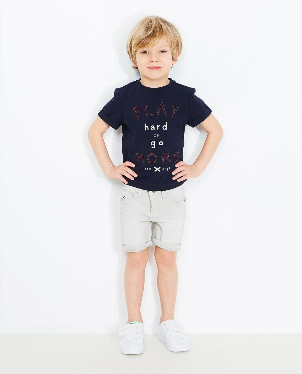 Nachtblaues T-Shirt - mit Aufschrift - JBC